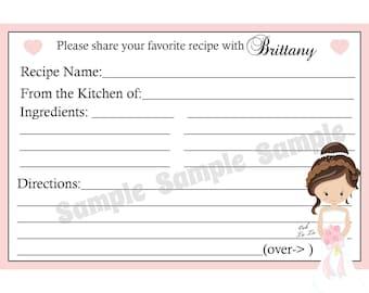 "50 Bridal Shower Recipe Cards   PERSONALIZED  - Bridal Shower - Wedding Shower -  4x6"" Size"