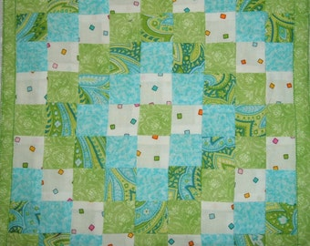 Lime Green and Aqua Mini Quilt or Wall Hanging