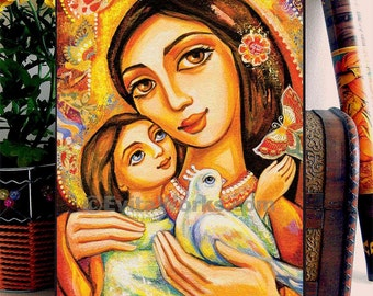 Folk Art Icon Religious Mother and Child Motherhood Dove Bird Love Maternity Wall Art, home decor wall decor woman art, ACEO wood block, CG