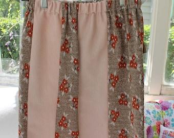 "Knee length Medium tube skirt, 20"" long, elastic waistband, alternating patterns, vintage fabric, size medium, womens, knee length, OOAK"