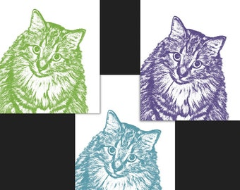 "Tri-Color Custom Pet Portrait - Three 5x7"" Prints - Cat, Pet Portrait"