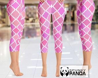 Abstract Pink Quatrefoil Leggings, Quatrefoil Legging, Custom Leggings, Yoga Leggings, Printed Leggings, Yoga Pants, Boho Leggings, Capri