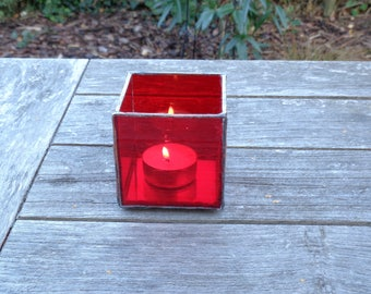 Red stained glass tea light holder