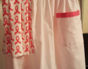 Apron ~ Apron with towel ~ Half Apron ~ Mothers Day gift ~ Bridal Shower Gift ~ Pink Ribbon ~ Vintage Apron ~ Breast Cancer awareness