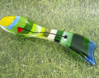 On to the 18th Hole Fused Glass Spoon Rest
