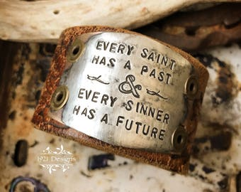 Saints and sinners - hand stamped - leather belt cuff