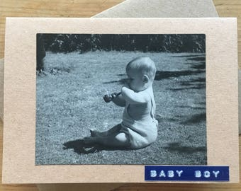 Baby Boy Card with Vintage Photograph Funny Picture Pipe
