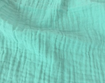 Sunny Saloo Aqua - half yard - 100% cotton fabric from Thailand - double gauze or muslin fabric with no grid lines