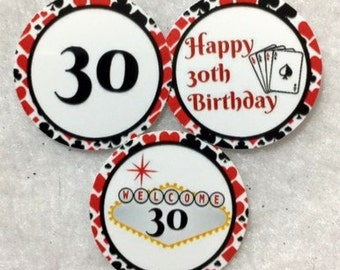 Set Of 50/100/150/200 Personalized 30th Poker Birthday Party 1 Inch Circle Confetti