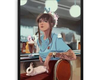 Bunny Diner Illustration Print (Matte paper & ready to go Black Frame)