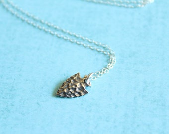 Hammered Arrowhead Necklace in Sterling Silver