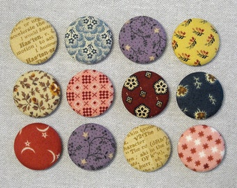 Fabric Button Magnets - Set of 12 - 19th Century Reproduction Prints