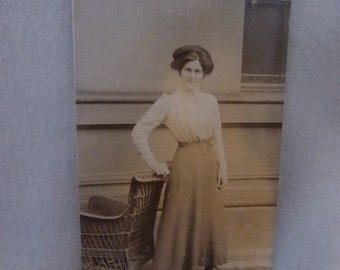Vintage Unused  Post Card of Lovely Lady in Shirtwaist and Skirt  PPC141