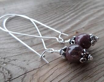 Natural Genuine Ruby Gemstone Birthstone Dangle Sterling Silver Earrings