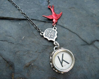 Typewriter Jewelry - Antique Typewriter Key Necklace - Letter K with Red Bird