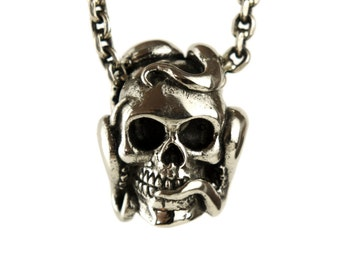 Octopus Tentacle Anatomic Human Skull Necklace Jewelry Antique Silver Bronze Pendant Gothic Steampunk - FPE011