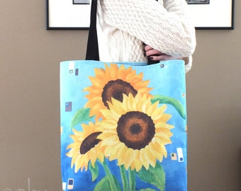 Large Tote Bag, Sunflowers on Blue, Art Print Tote