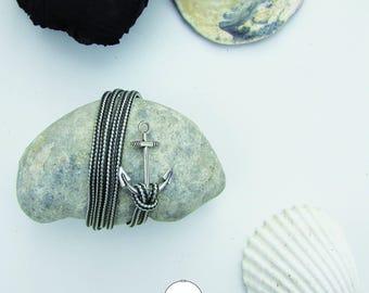 Nautical 18 cm - Navy anchor - bracelet gray and white