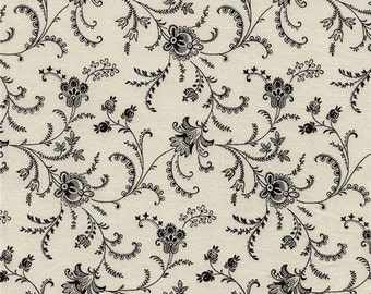 211672 cream fabric with black flower leaf design by Timeless Treasures