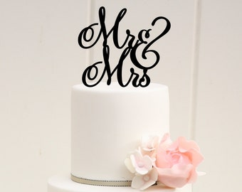 Mr and Mrs Whimsical Wedding Cake Topper or Bridal Shower Topper