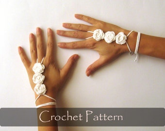 CROCHET PATTERN - Rose Flower Cuffs Crochet Hand Jewelry Pattern Wedding Cuffs Pattern Summer Arm Jewelry PDF - P0030