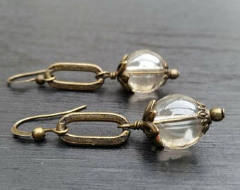 Antiqued Brass Oval and Iridescent Glass Bead Earrings