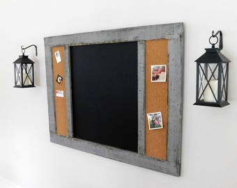 OFFICE ORGANIZER - Message Center - Framed Chalk Board Cork Board Combo - Rustic Industrial - Shown in Medium Gray - 36x48 - Choose Color