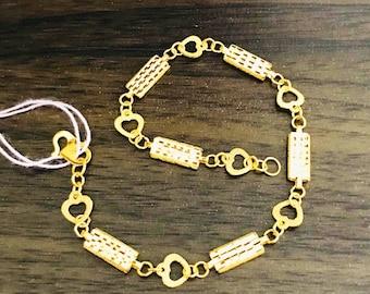 Fancy bars & hearts bracelet 22k 916 gold bracelet