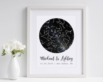 Under This Sky | Custom Sky Map | Personalized Star Map | Star Print | Wedding Gift for Couple | Paper Anniversary Gift for Husband Wife