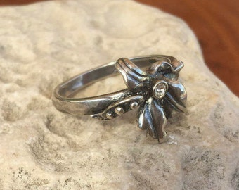 925 Sterling silver ring, Flower-shaped ring, Silver sunflower ring, Flower jewelry, Statement ring, Healing Jewelry, Zircon silver ring,