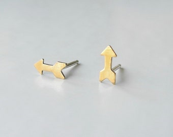 Tiny Arrow Earrings, Brass Jewelry, Tiny Stud Earrings, Minimalist Earrings, Unisex Earrings, Arrow Jewelry, Sterling Silver Hypoallergenic