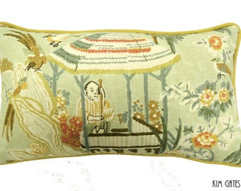 One 12x20  Chinoiserie Pillow cover // asian pillow // Thibaut pillow // decorative pillow // asian home decor // kimgatesdesigns