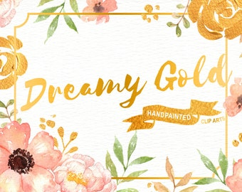 Dreamy Gold Flower Clipart, Watercolour and Acrylic Hand Painted, greetings, diy clip art, wedding invitation, floral, bouquets, valentines