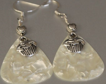 Pretty Handmade Handcrafted Tiny Silver Heart Bead White Guitar Pick and Silver Cupcake Charm Dangle Earrings