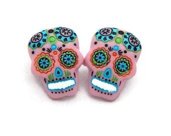 Large Pink Sugar Skull Earrings - Rockabilly Day of the Dead Earrings - Pink Skull Earrings - Dia de los Muertos - Large Resin Posts
