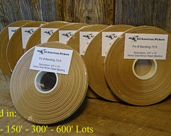 "Heavy Duty Brown Paper Banding 3/4"" x 75' - 150' - 300' - 600' Craft, Kraft, NEW"