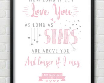 Personalised with Date of Birth Baby / Toddler / Little Girl Nursery Love Print