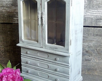 Large Gray Jewelry Armoire With French Doors, Shabby Rustic Chic Vintage Jewelry Box, Tall Painted Wood Jewelry Cabinet, Gift For Her Woman