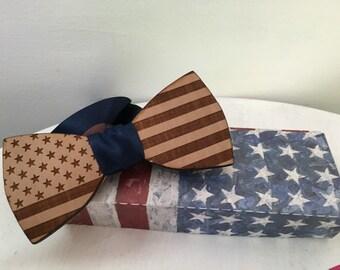 wood bowtie American flag