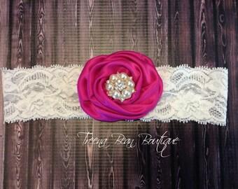 Fuchsia Berry Satin Rose Headband, Story Book Collection Shabby Chic Headband, Newborn Headband, Baby Headbands