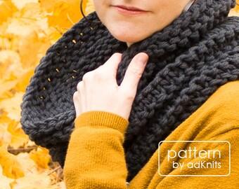 Chunky Cowl Knitting Pattern, Scarf PDF Pattern, Digital Download - Galax Cowl Pattern