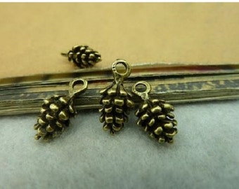 16 Mini Pinecone Charms Pine Cone Very Small Pinecones Natural Stages each Cone Varies Little Bronze Tone Fall Charm 13x6 mm