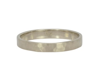 White Gold Wedding Ring, 3mm Hammered Matte Eco Friendly Ring, any size available, Sea Babe Jewelry