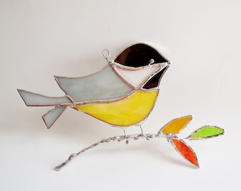 Stained Glass Chickadee The Black Capped Chickadee Stained Glass Bird Home Decor Suncatcher