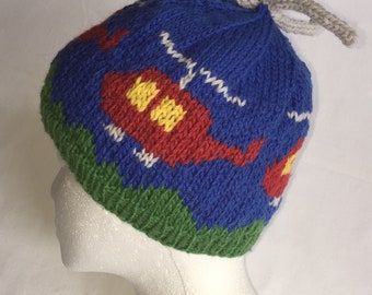 Helicopter Hat Knitting Pattern Worsted Weight Yarn