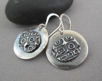 Silver disc Earrings/ PMC drop earrings/ Fine Silver earring/ Antiqued Silver earrings/ Artisan Silver EarringS