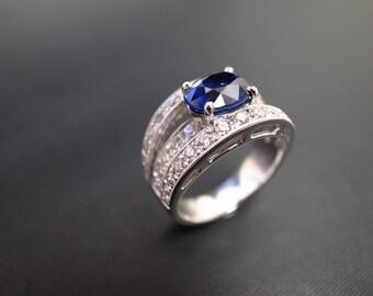 Natural Blue Sapphire Wedding Diamond Ring In Platinum, Diamond Rings, White gold, Yellow Gold, Engagement Band, Cushion Cut Blue Sapphires
