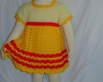 0030C 3-6 Months Crochet Baby Dress and Beanie Pattern Set