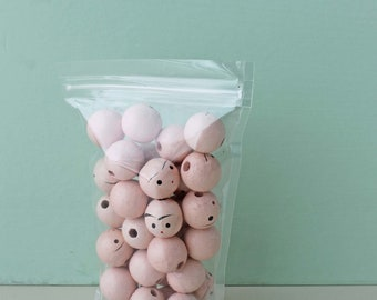 SPRING CLEANING SALE Wooden Heads, Head Beads, Craft Supply