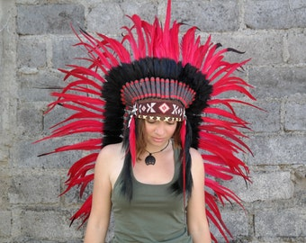 Feather Headdress, native american, indian headdress, warbonnet, indian costume, festival, bohemian, ethnic wear, handmade, red, home decor